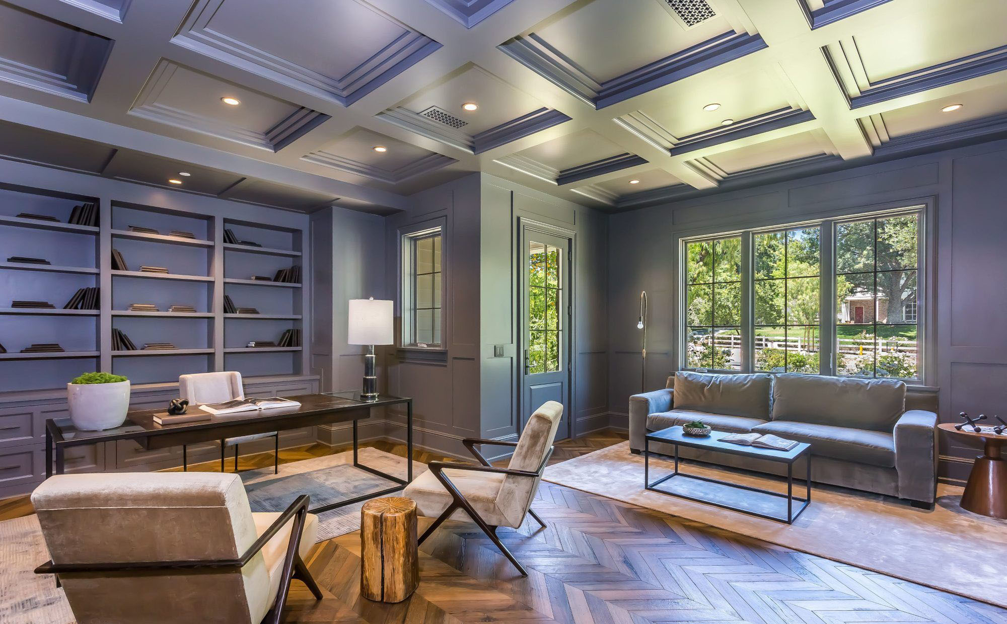 lavender blue home office with matching color coffered ceiling