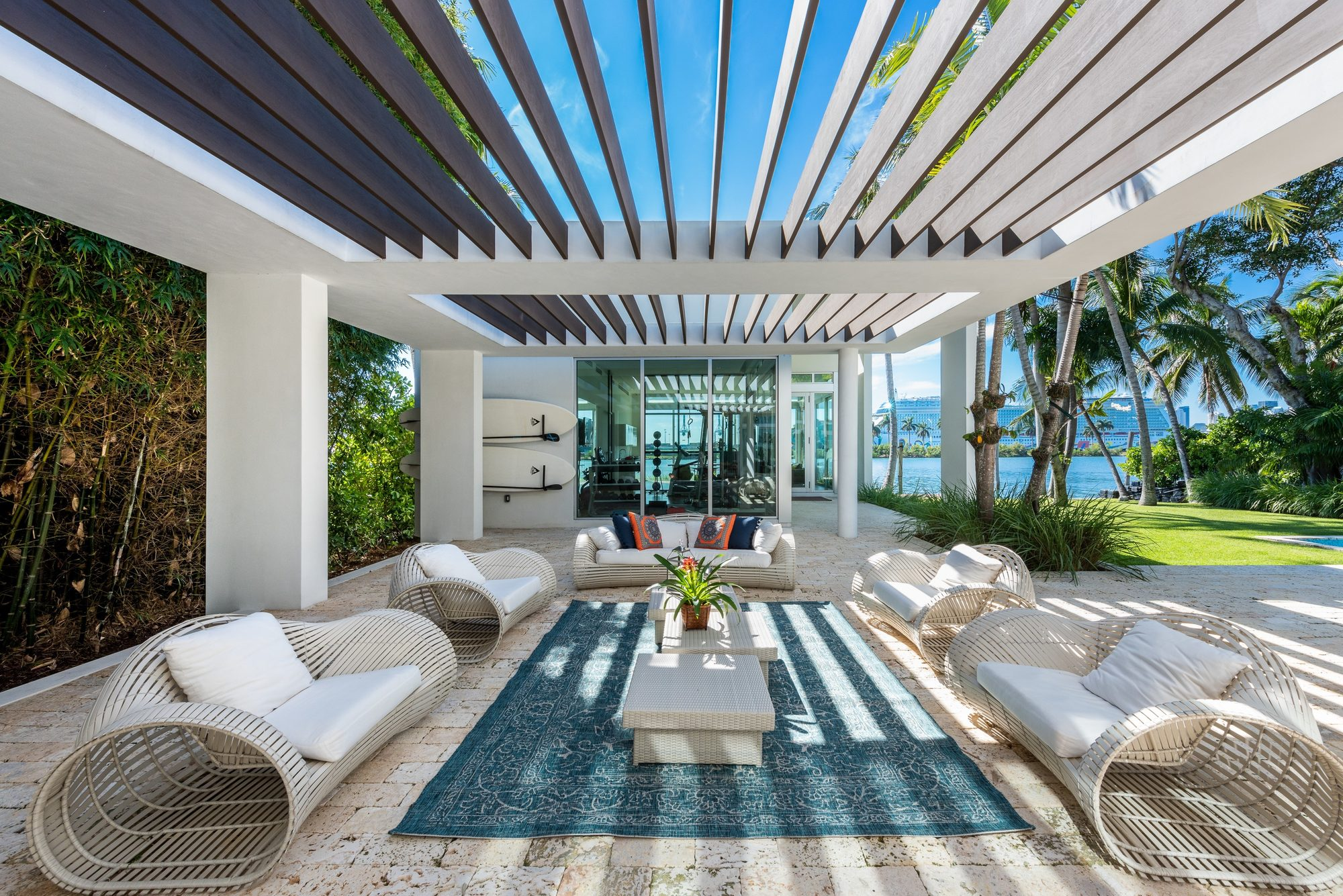 modern outdoor furniture ideas cool chairs with hollow sides white cushions colorful throw pillows blue area rug