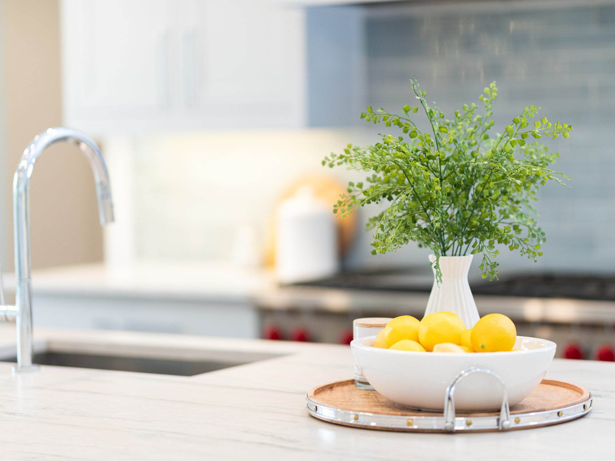 White quartz countertops with subtle gray veining. Closeup view of the counter and decorations. White bowl with lemons and a small plant.