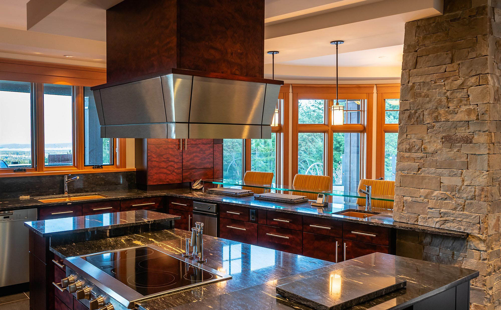 Beautiful black granite countertops in the fantastic modern country kitchen.