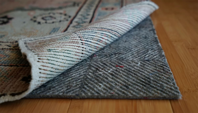 closeup view of an area rug pad