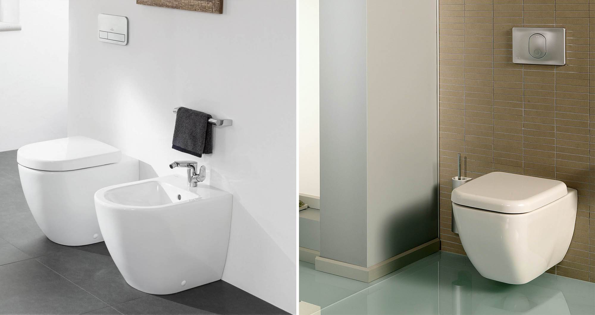 Side by side comparison of a floor mounted and wall mounted bidet.