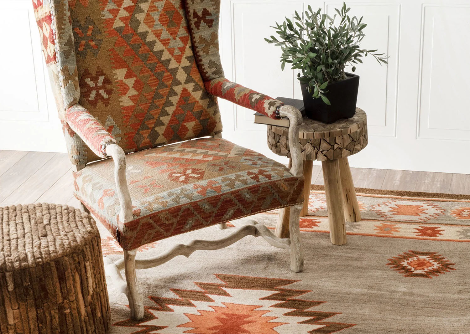 southwestern style area rug with matching chair