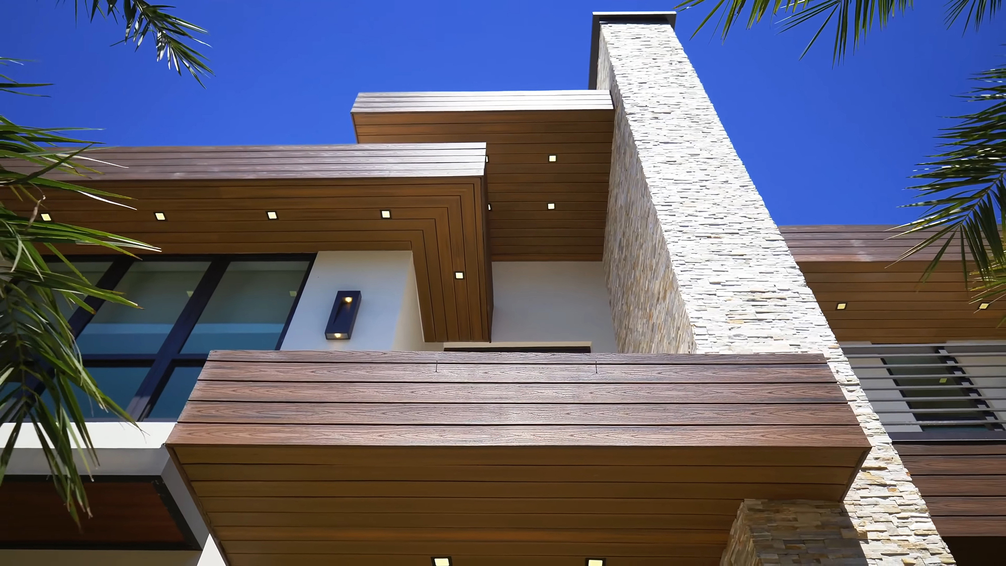 Trex decking used as not only a cladding material but also as a soffit.