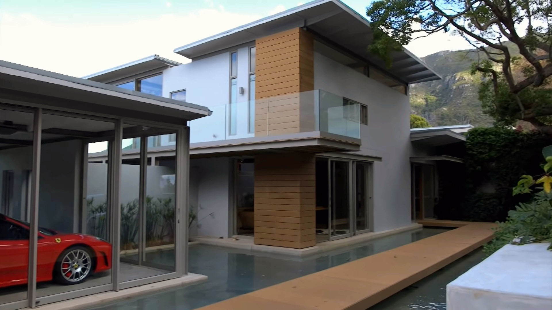 Composite decking used as an exterior house cladding.