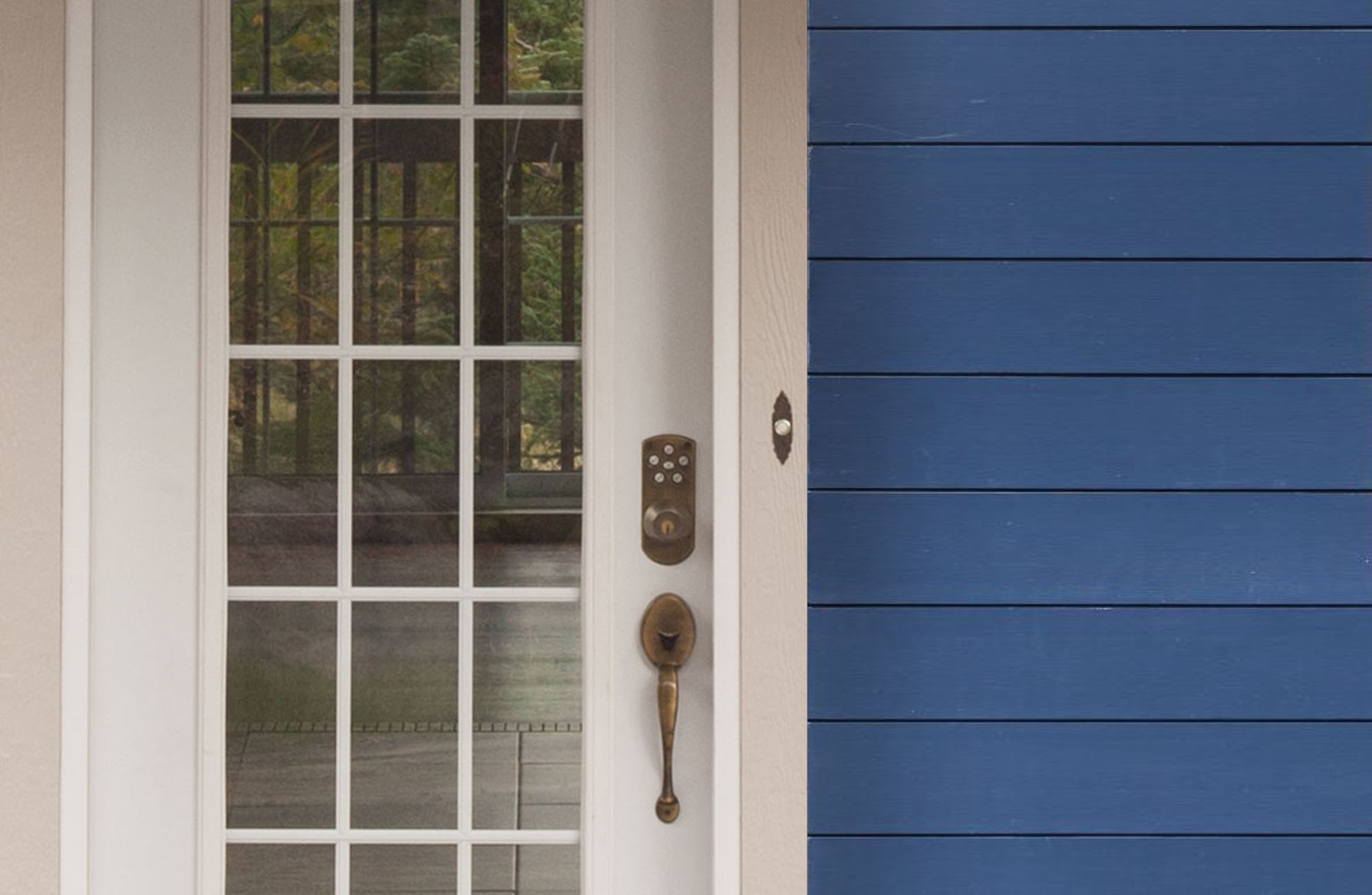 Royal blue lap siding with a white front door and matching white trim.