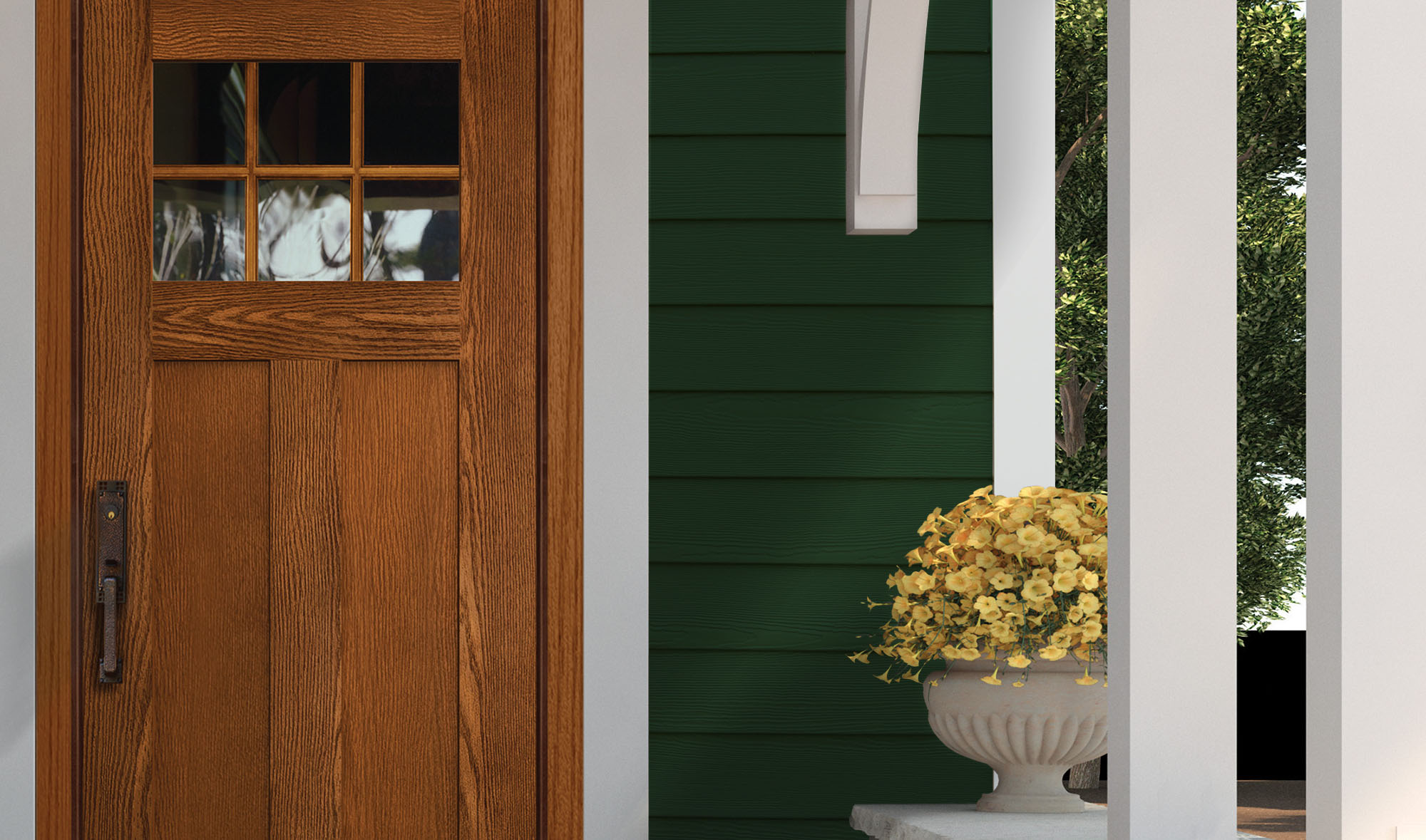 Forest green siding and a real wood front door with white trim and columns.
