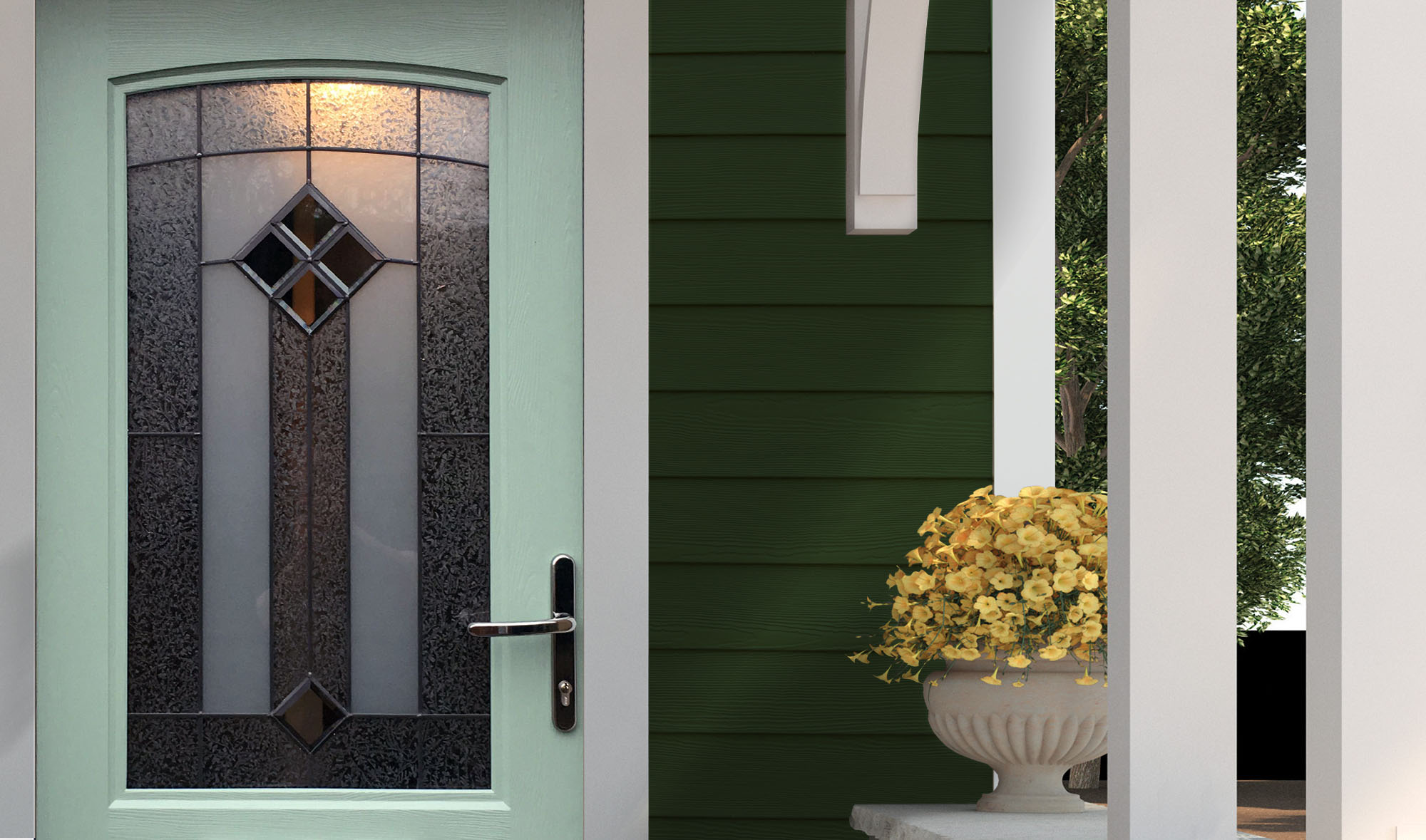 Dark green lap siding with white trim and a pastel blue front door.
