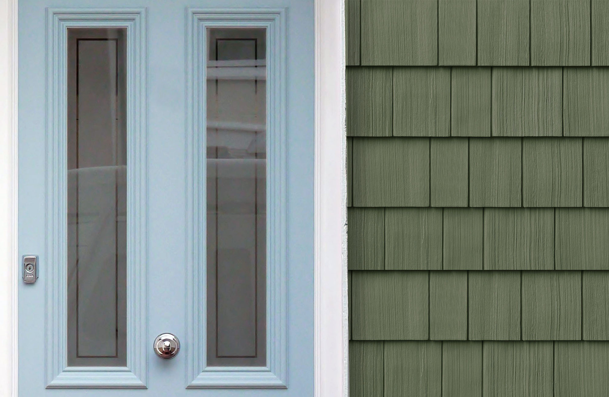 Green house with cedar shake siding and a pale blue front door.