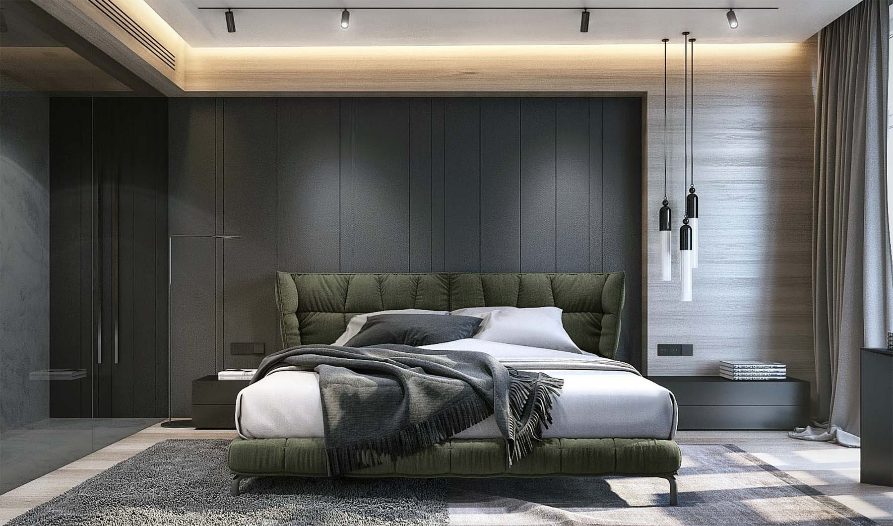 Master bedroom with a modern style and custom built wall paneling. Vertical gray paneling.