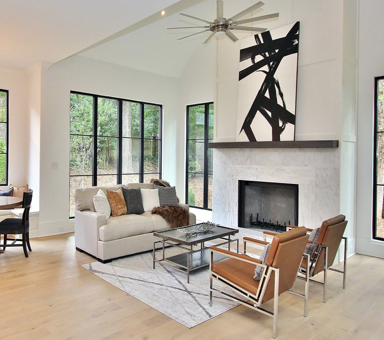 Modern style fireplace with a black and white design. fireplace design ideas.
