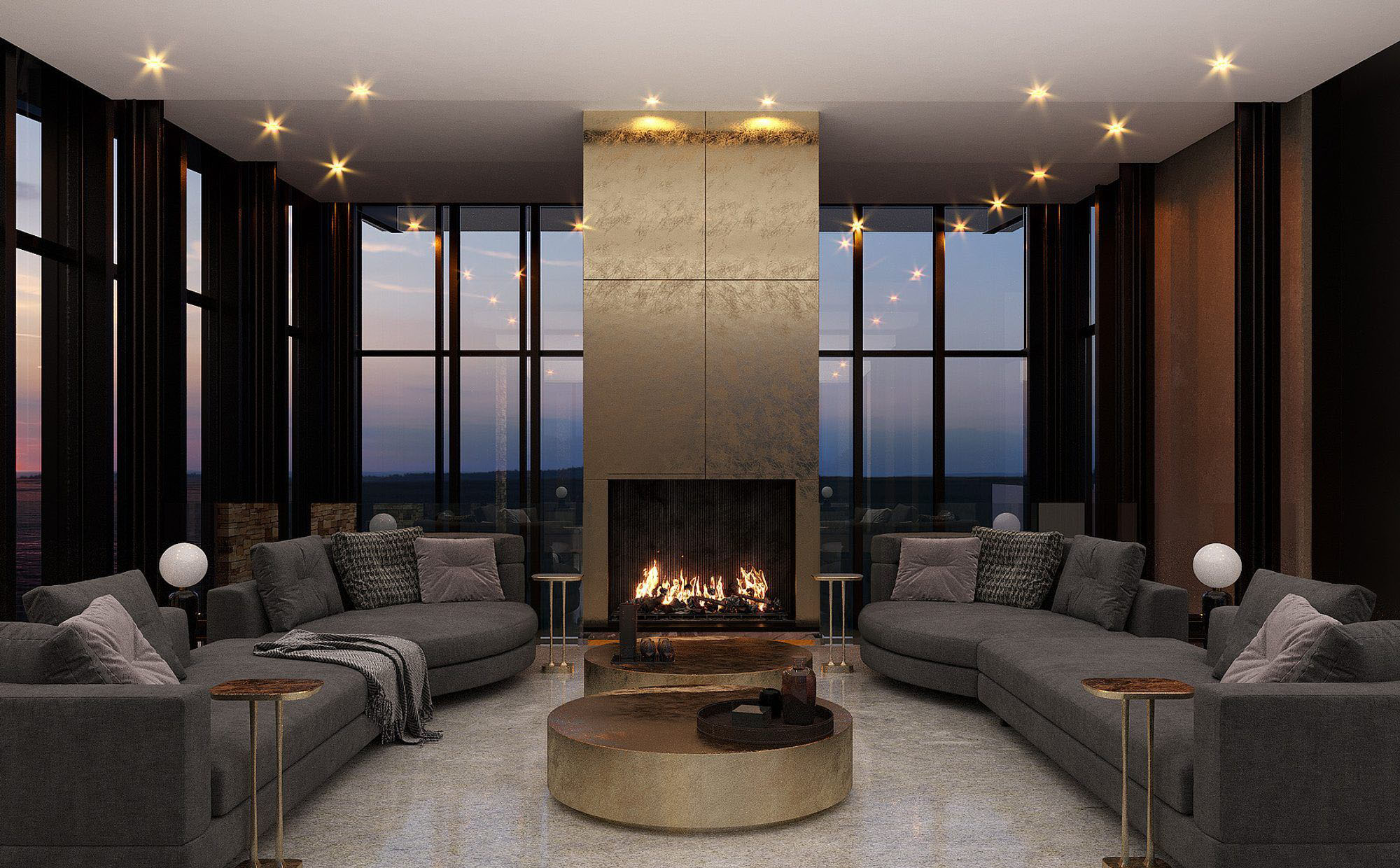 Modern wood burning fireplace with metallic gold grid surround. fireplace design ideas.