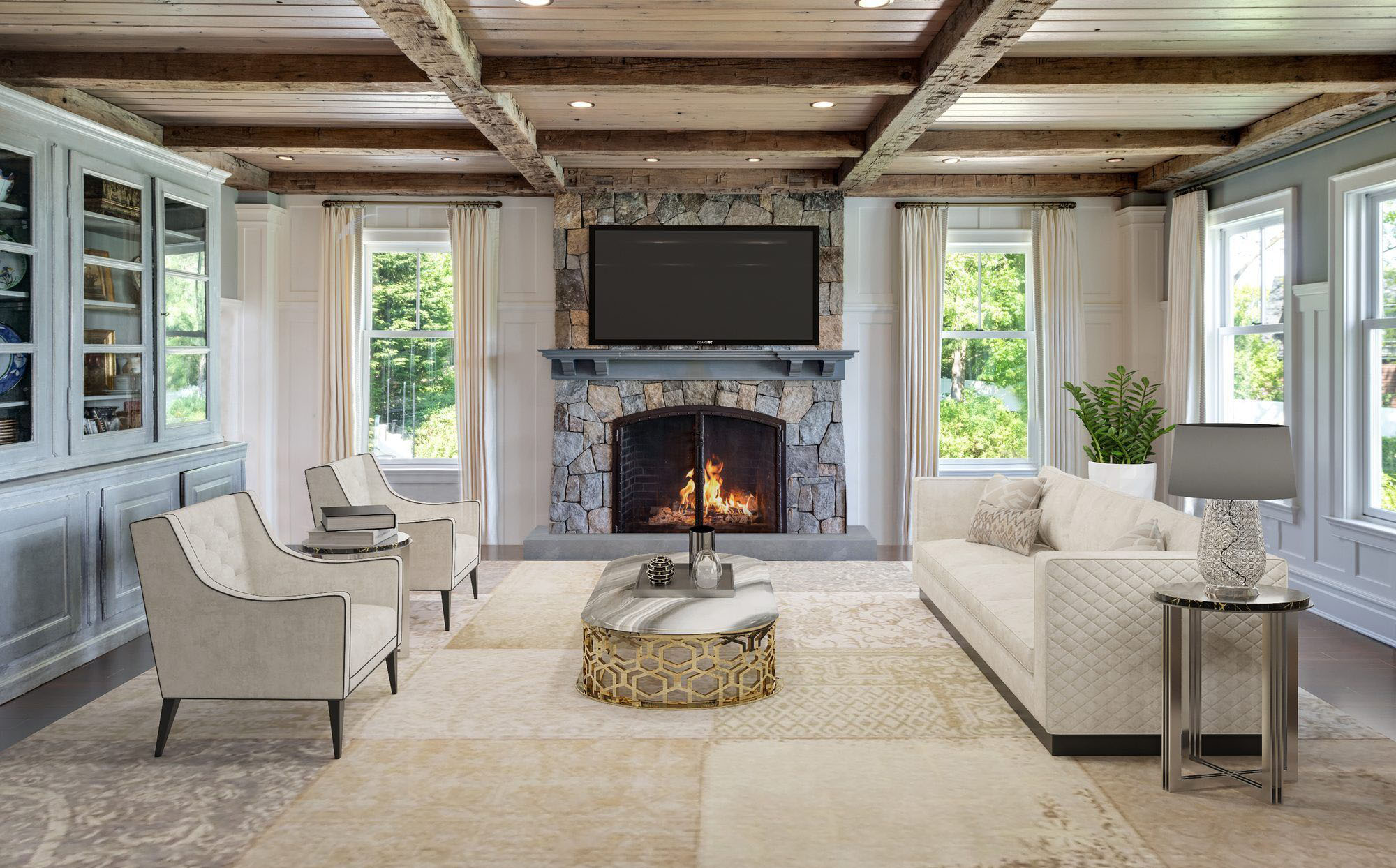 Real stone veneer fireplace surround with a cast concrete raised hearth. Painted gray wood shelf with mounted TV.