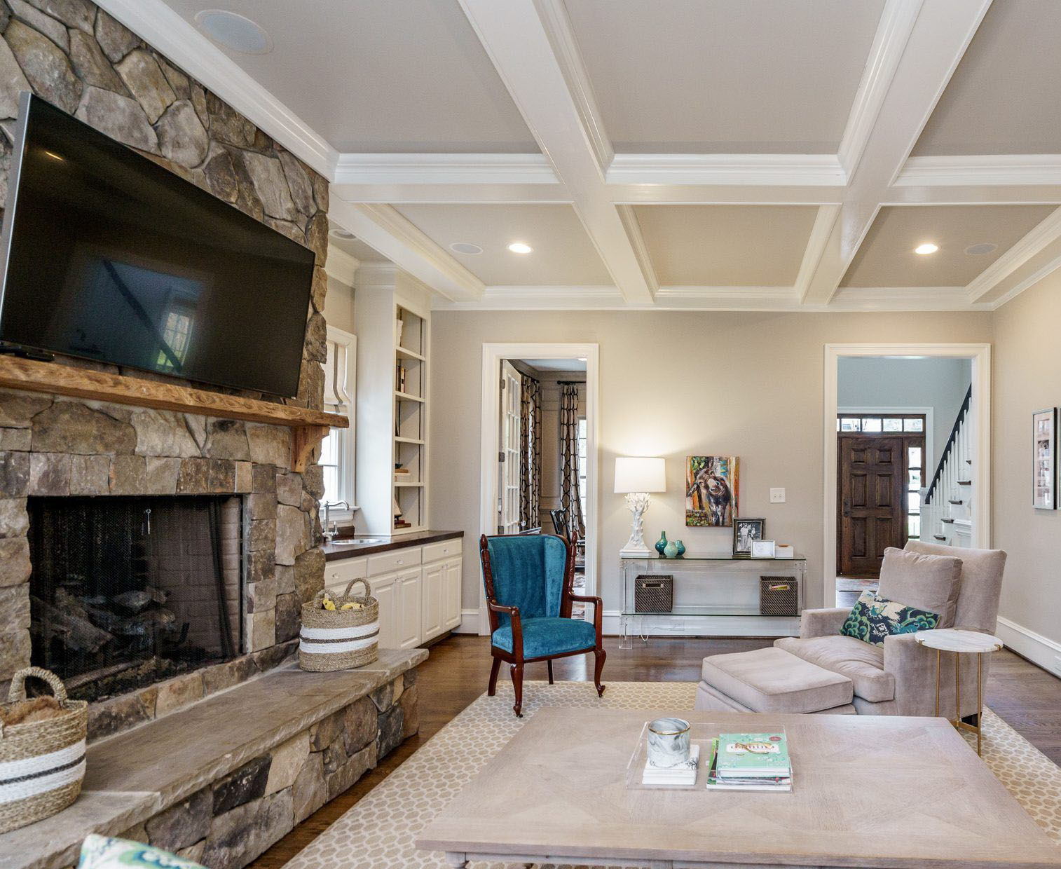 Real stone fireplace design with no grout and super tight stones. Raised hearth with limestone.