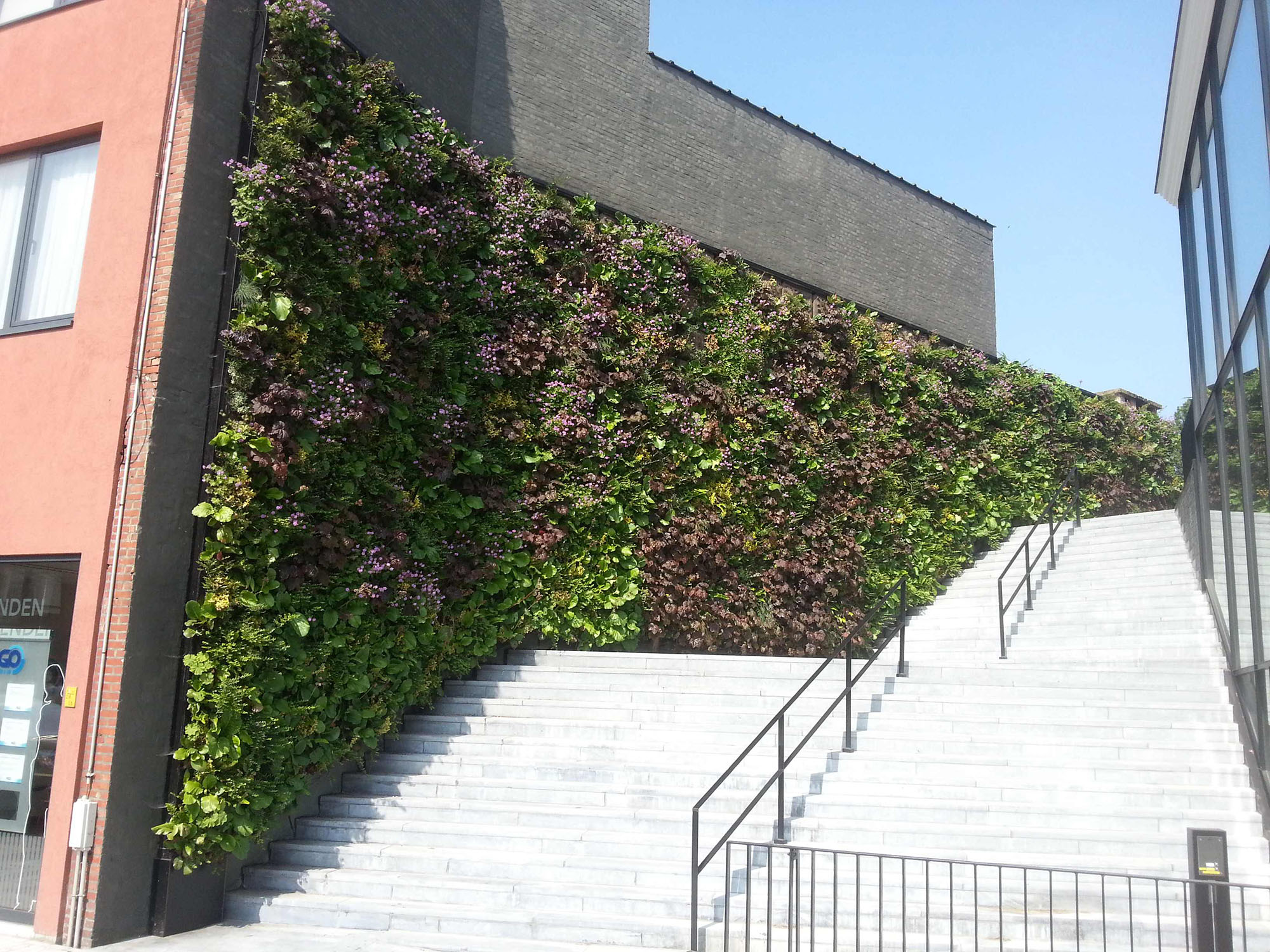 Green wall installed around an exterior staircase.