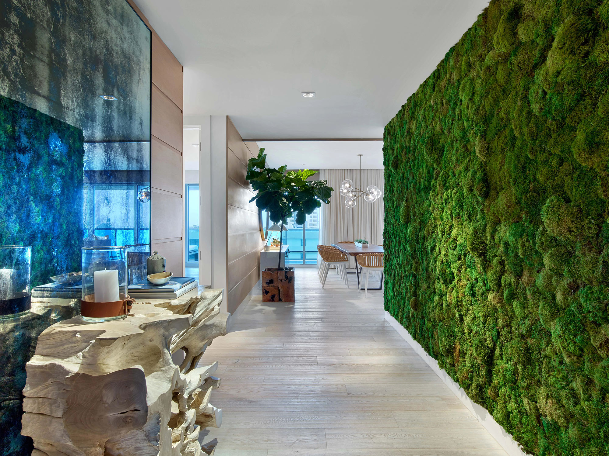 Interior living plant wall made from moss.