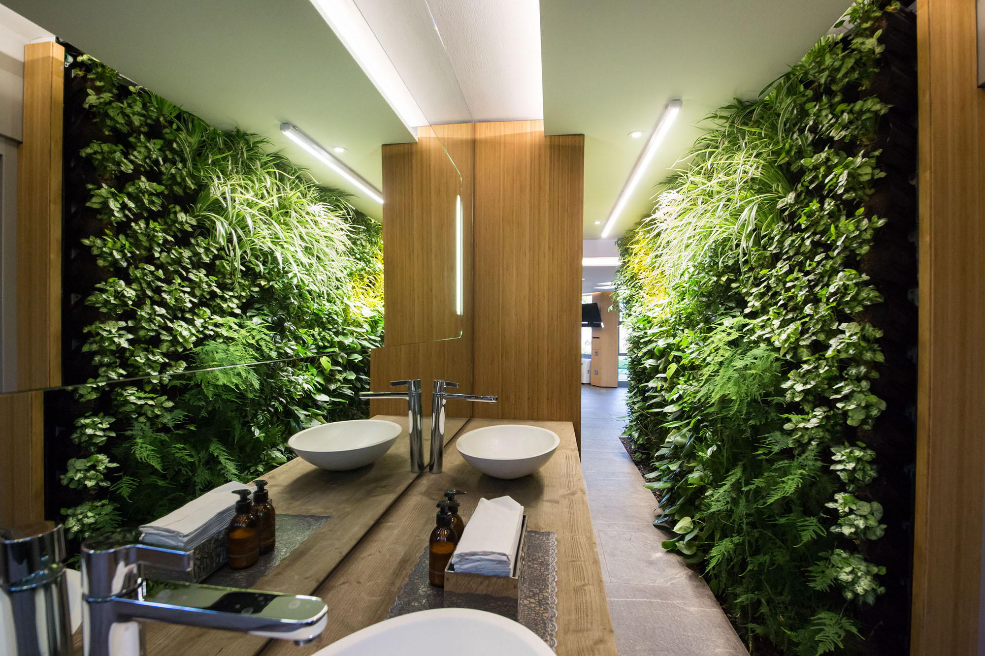 Eco wall built inside a modern style bathroom.