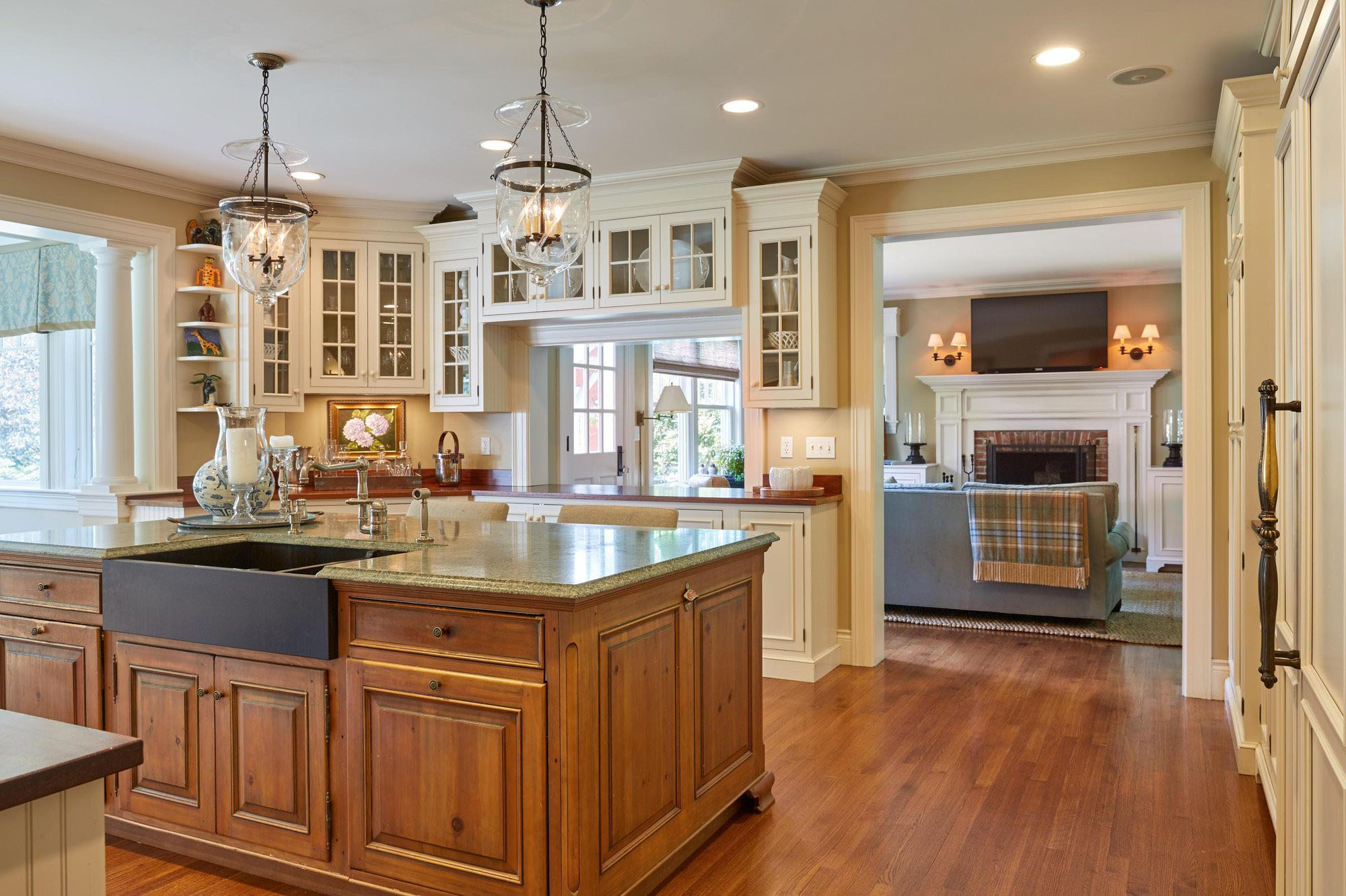 Another view of this beautiful country kitchen with stone farm house sink.