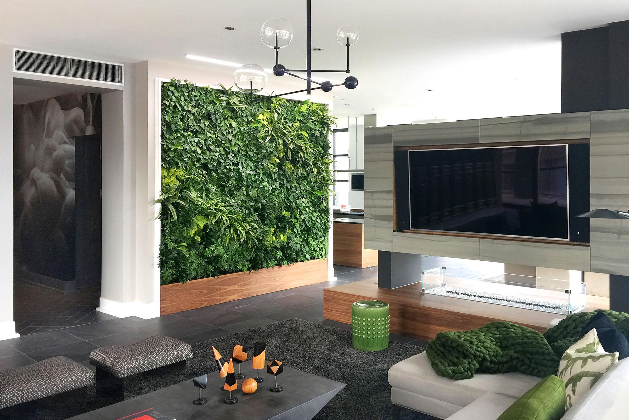 Green Eco wall art inside a modern style living room.