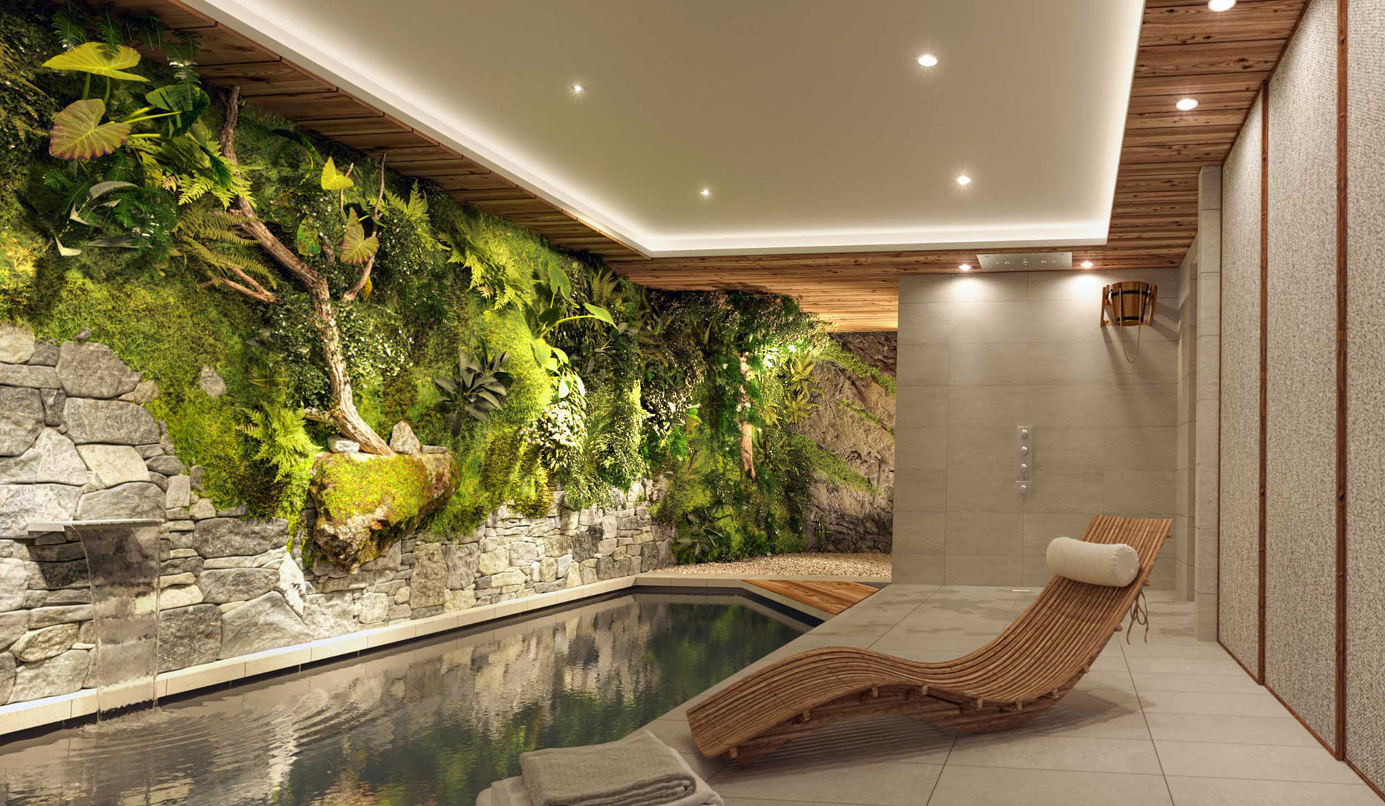 Beautiful living rock and plant wall inside a modern pool room.