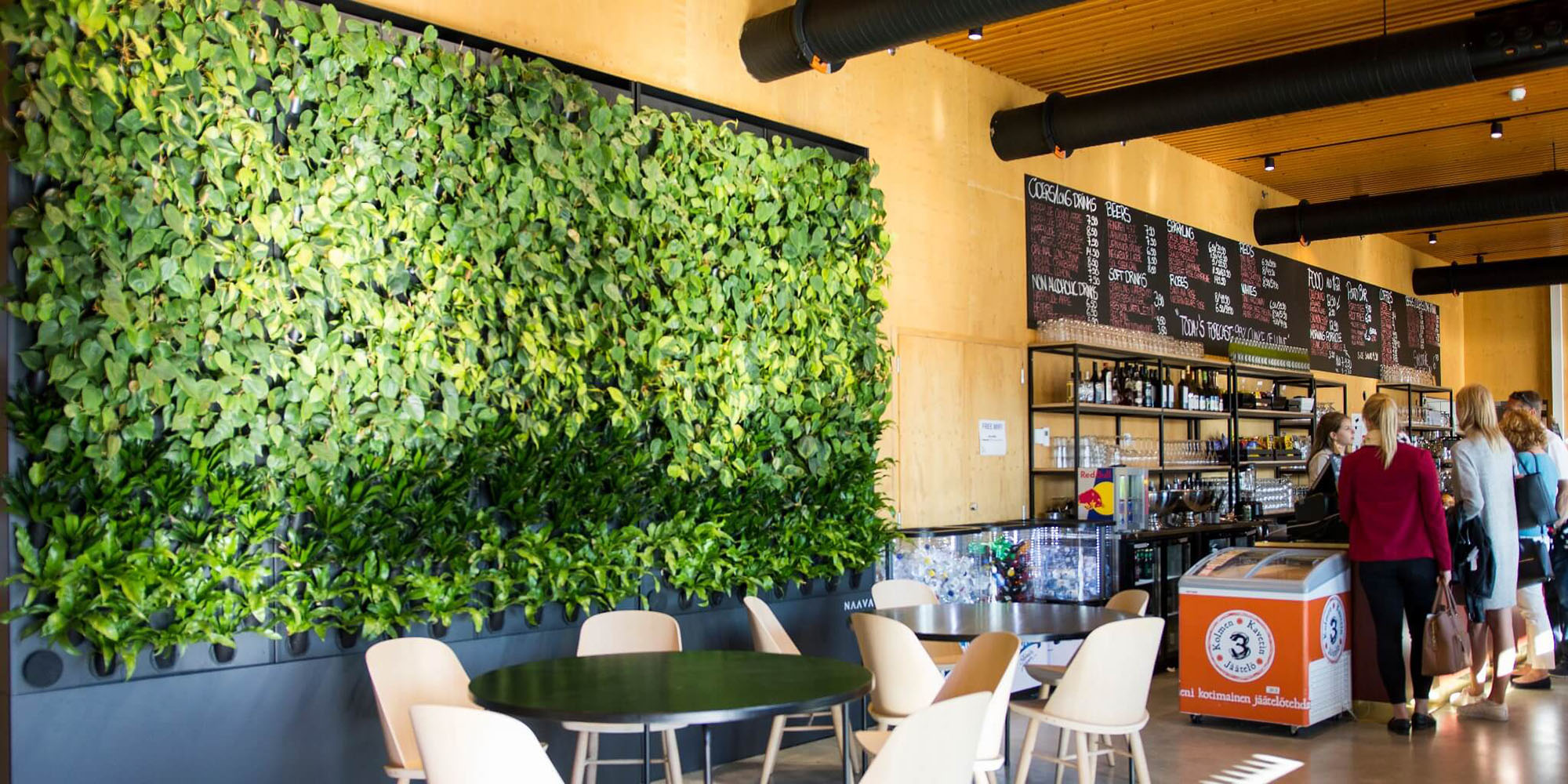 Living green wall display inside a cafe.