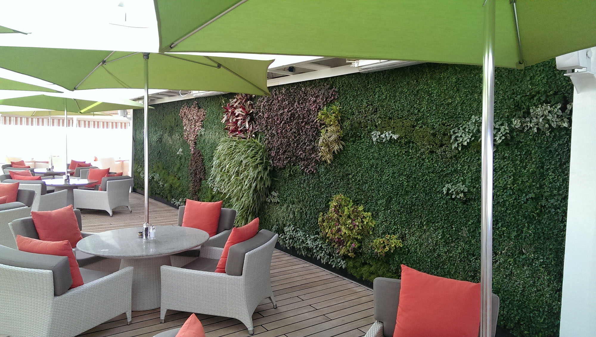 Eco wall on an outdoor patio area.