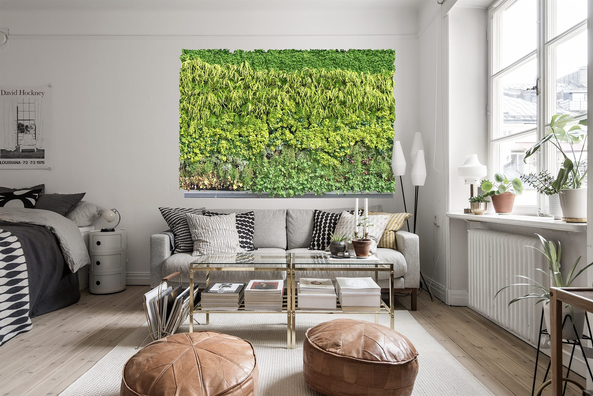 Beautiful living room with living green wall art.