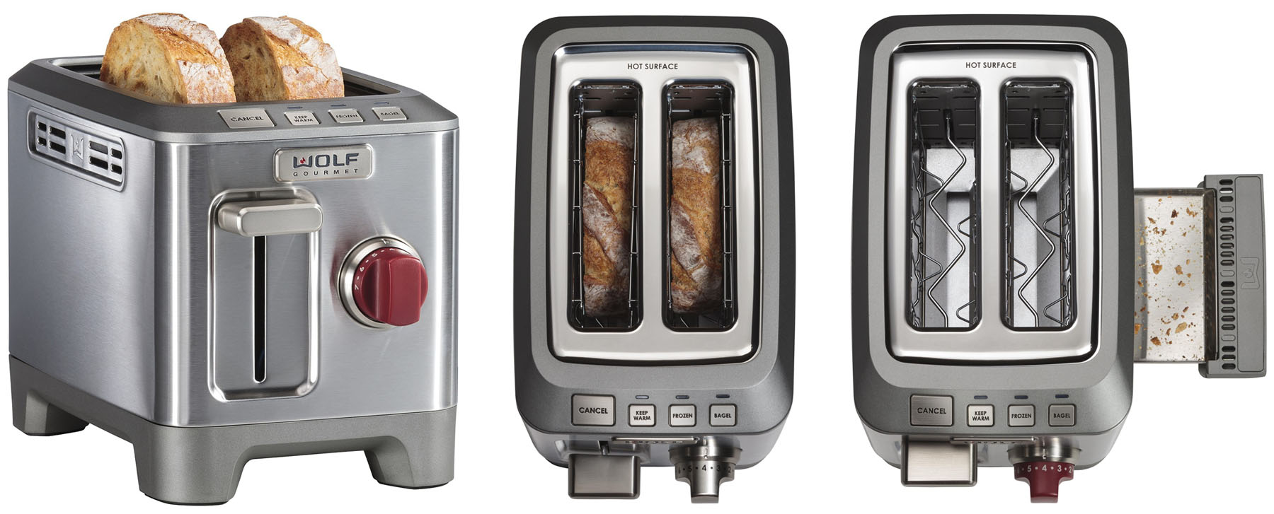 Side and top view of the Wolf 2 slice toaster with crumb tray open and closed