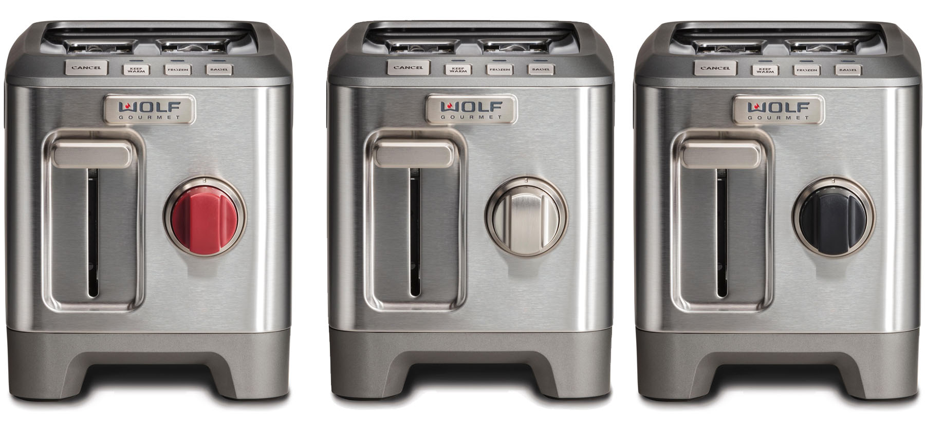 Wolf 2 slice toasters side by side red, siver and black knobs