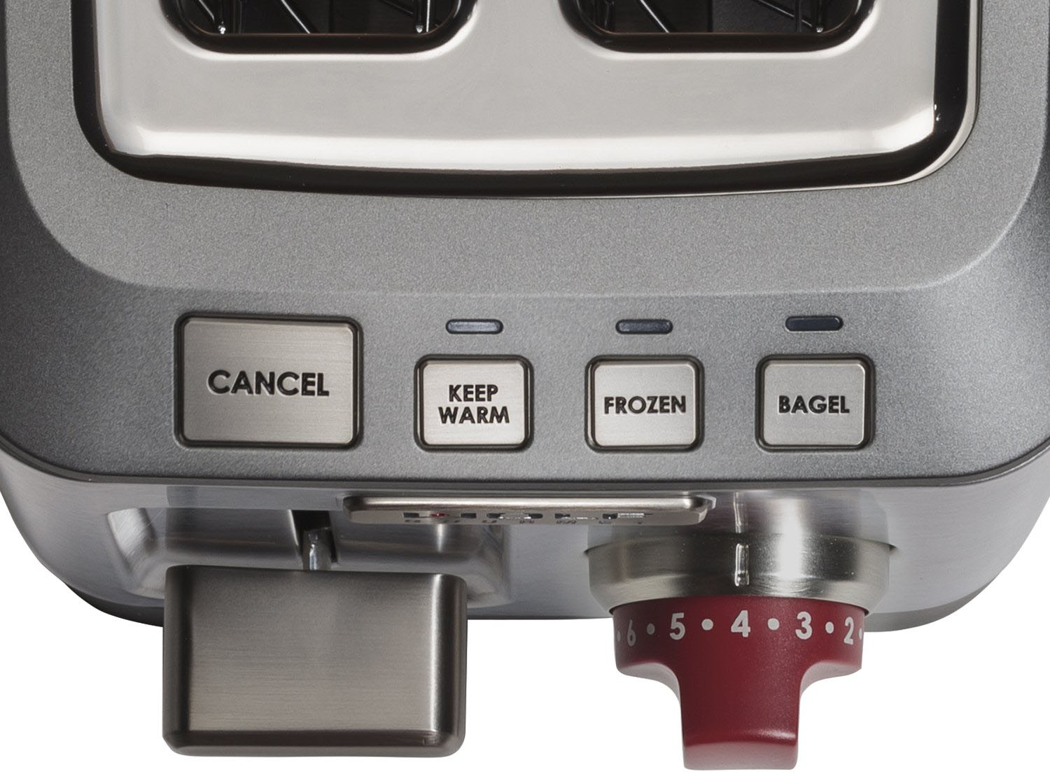 closeup wolf 2 slice toaster buttons
