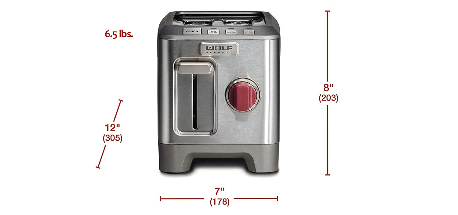 size chart for the Wolf 2 slice toaster