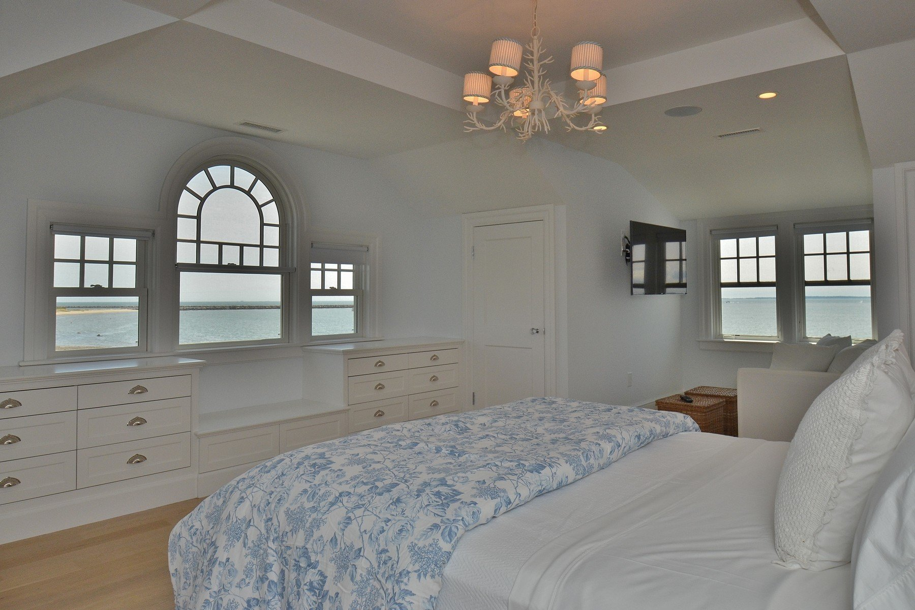 Beautiful bedroom with water views from the built in window seat.