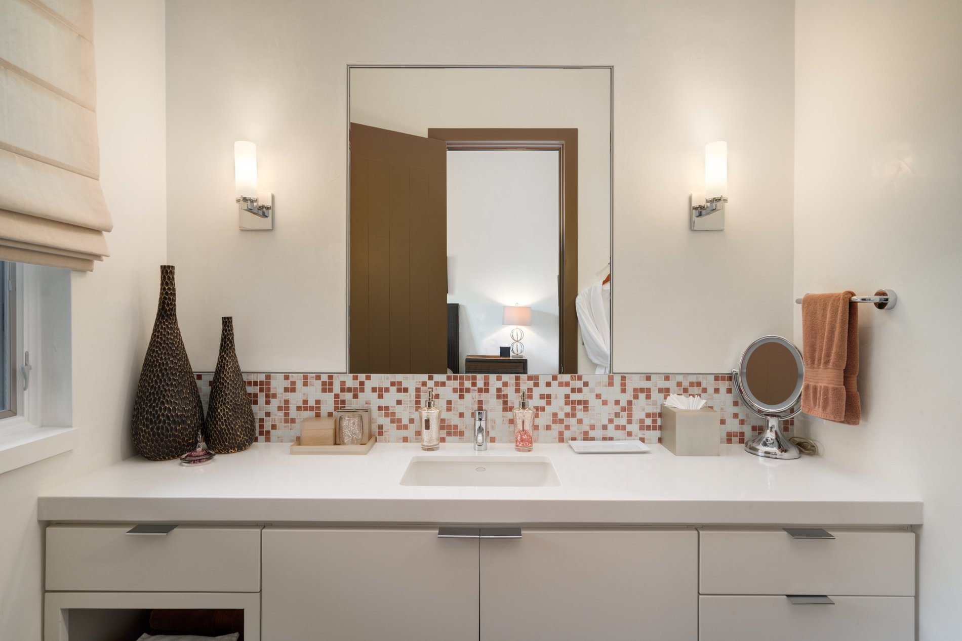 modern rustic home small bathroom flat faced white cabinets with a glass tile backsplash