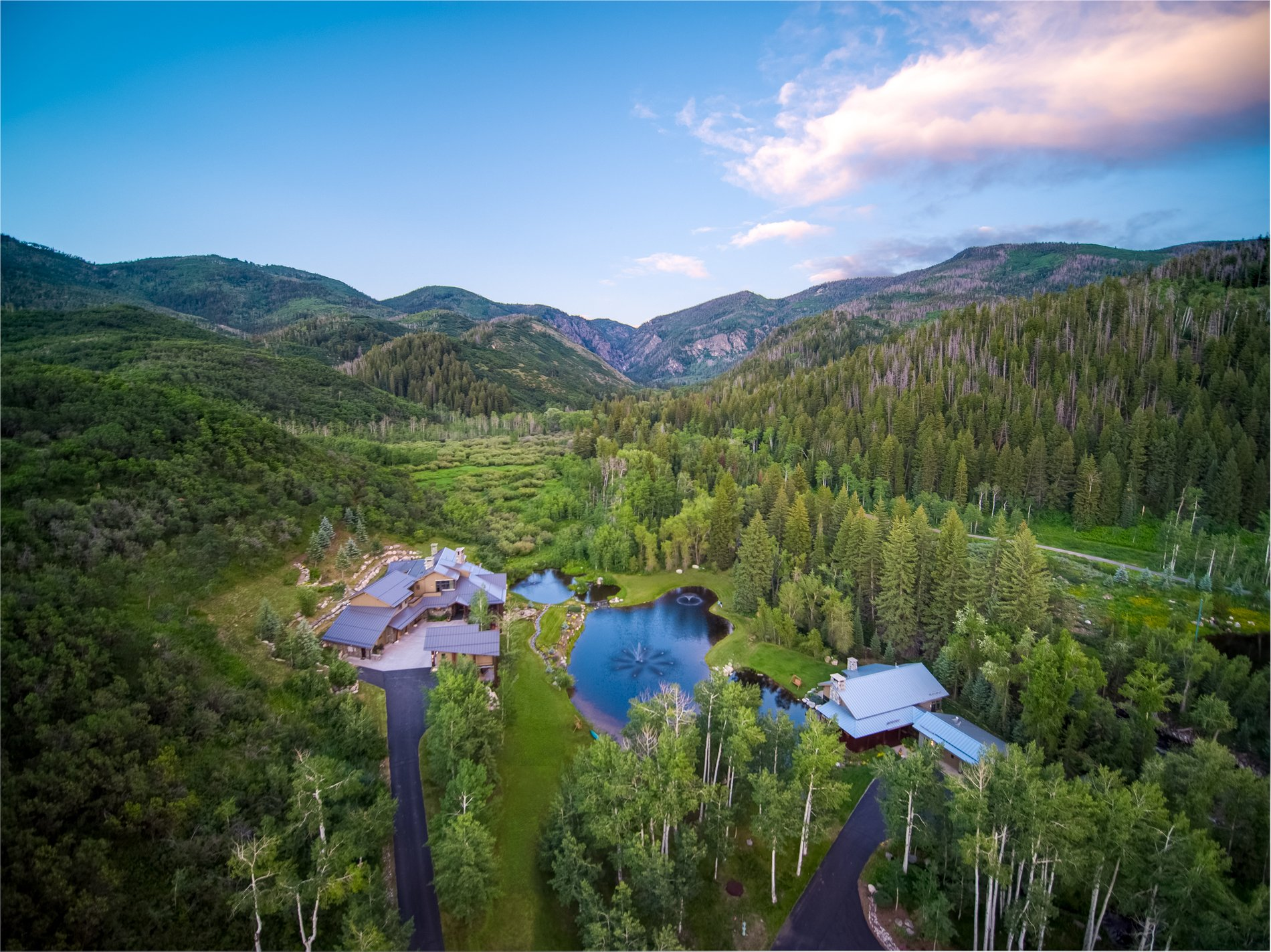 Ariel view of the home and landscape. The views from this custom home are spectacular from every window.