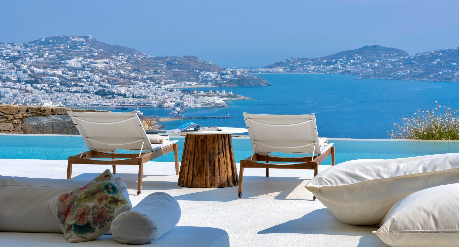 Modern Greek Home Mykonos. Poolside view of Greece.