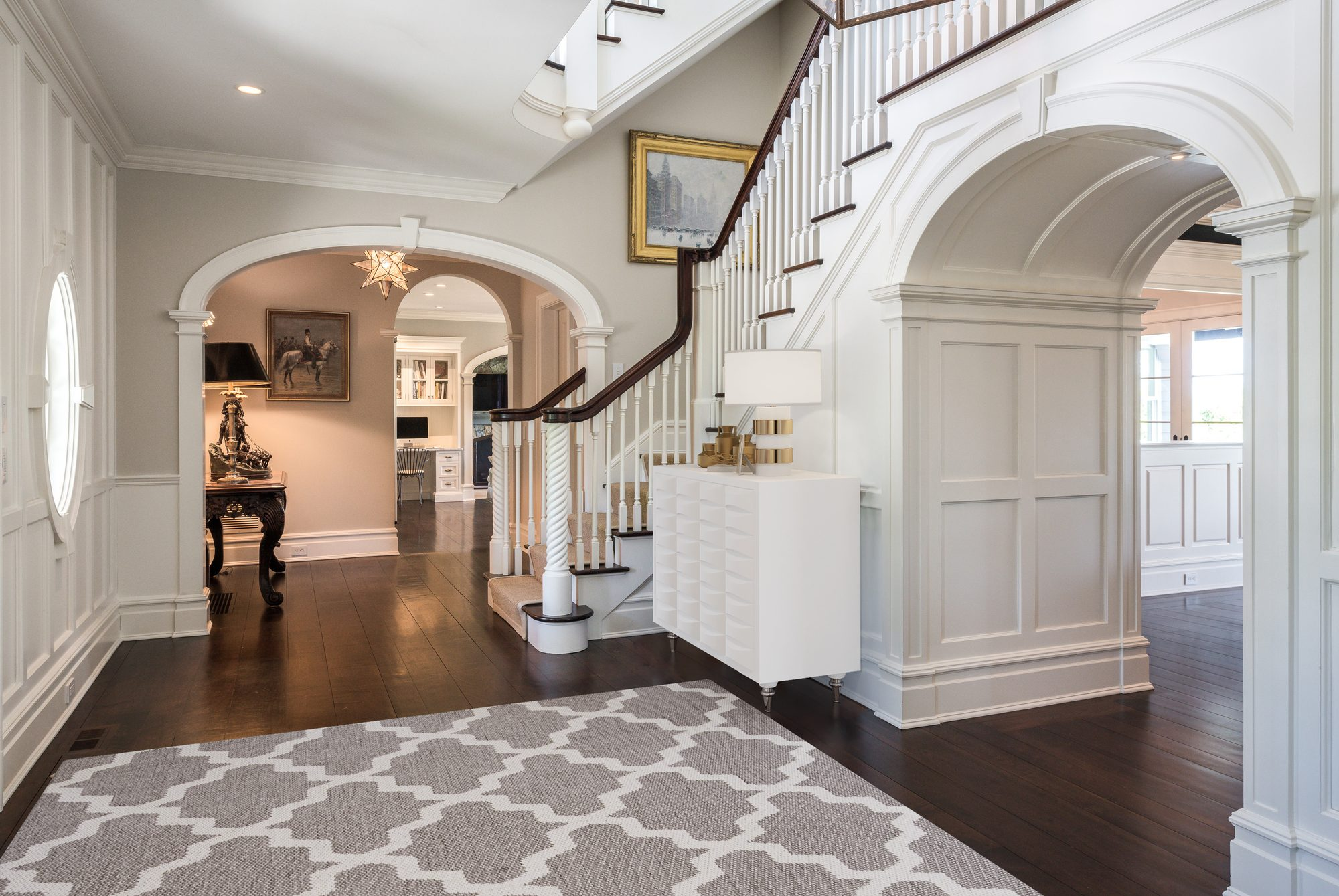 Fantastic custom home with dark stained hardwood floors and an eggshell finish.