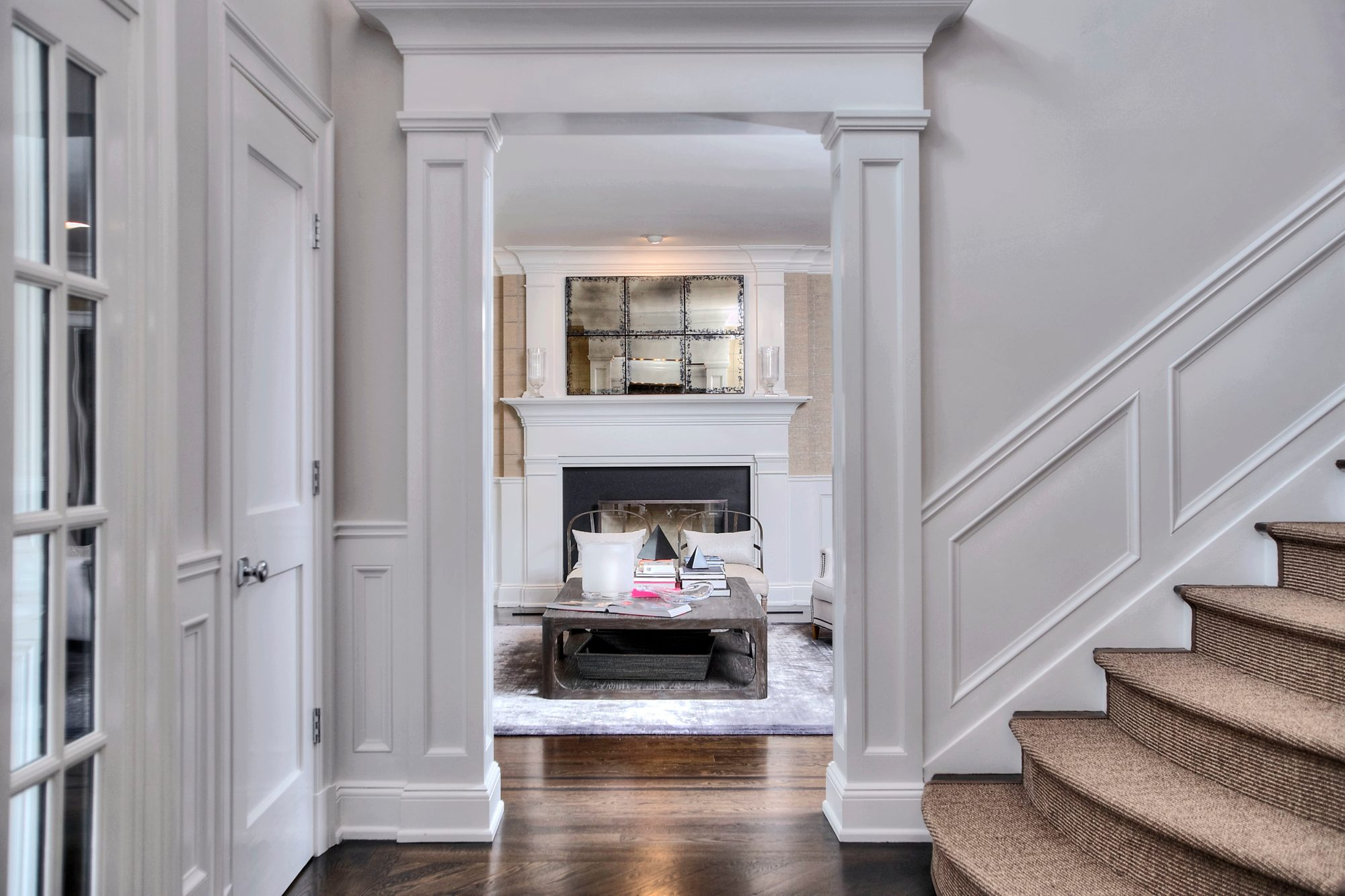 Beautiful home with dark brown hardwood floors and an eggshell finish.