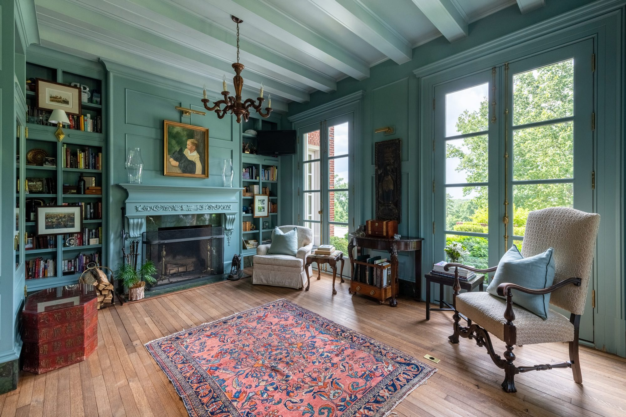 Vintage style home with thin plank hardwood floors and a natural finish.