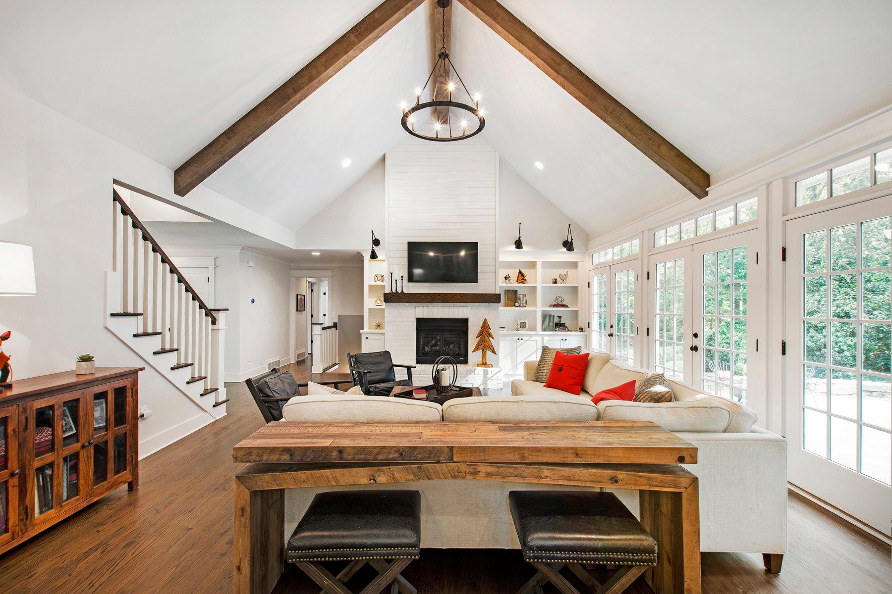 Farmhouse living room with Bavarian Cream white shiplap.