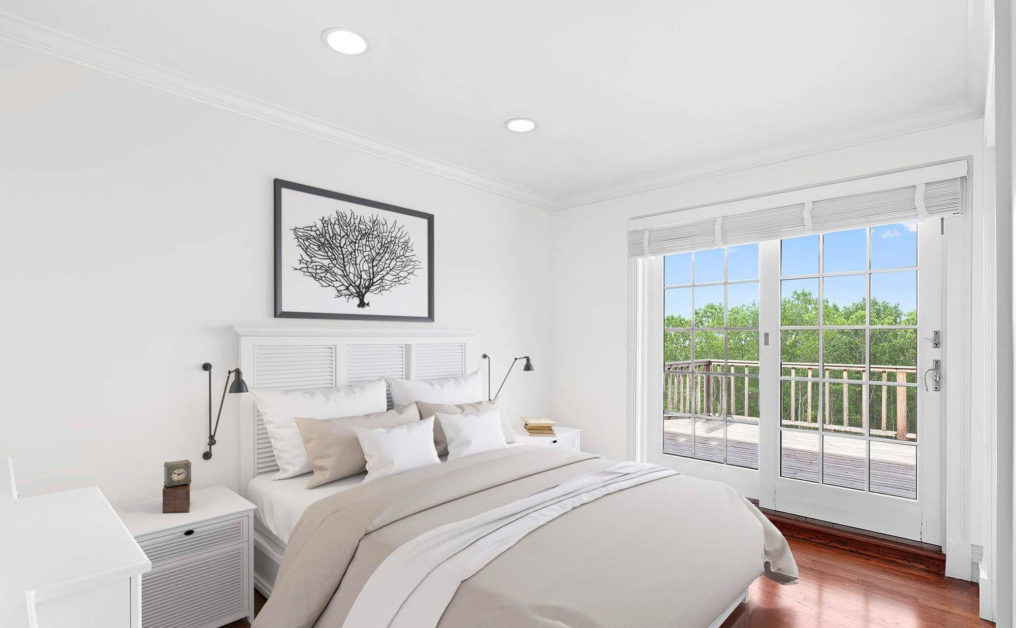 The light colors used in the small bedroom design makes the room feel larger than it is.