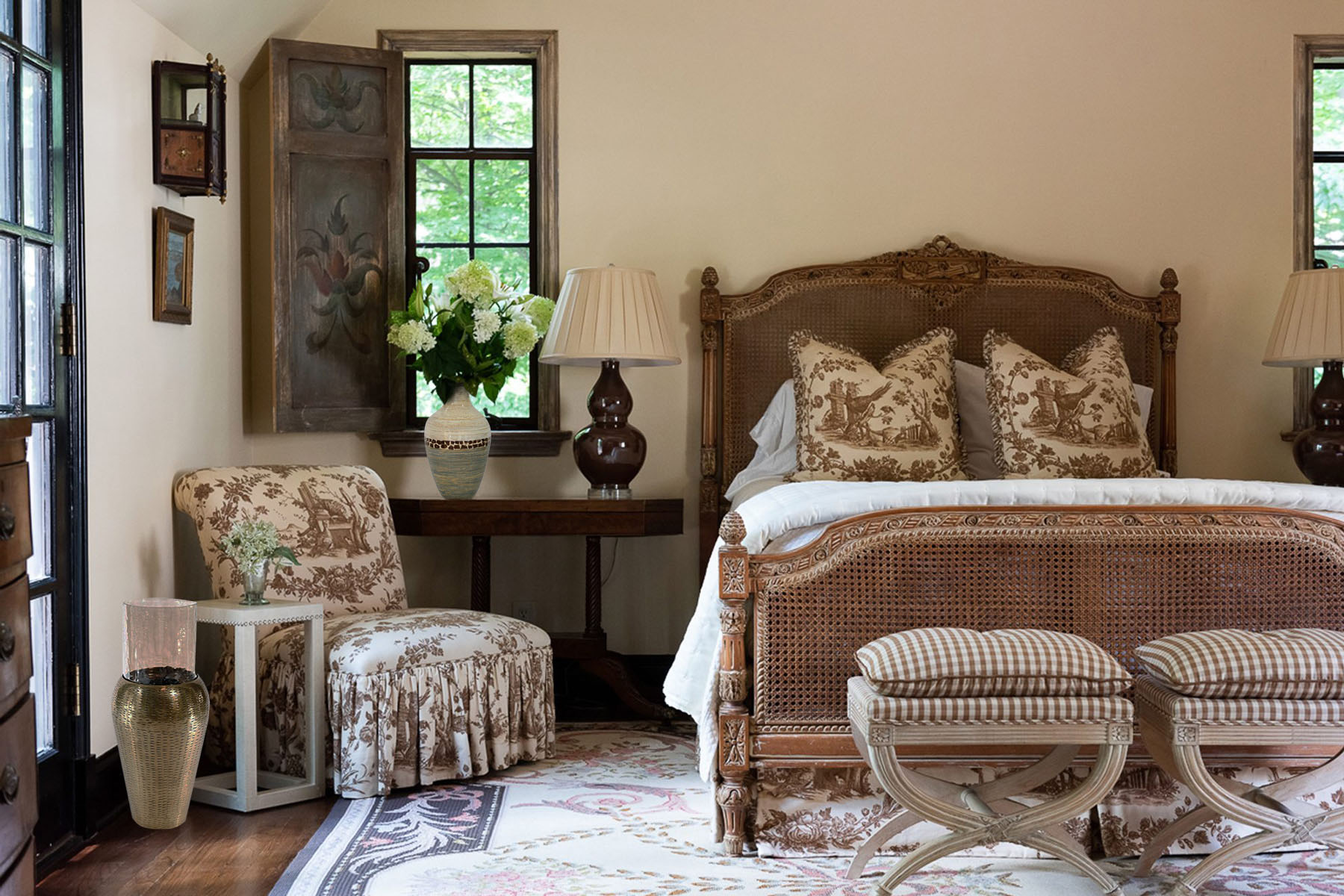 bohemian style bedroom with a brown, tan and cream color scheme. Wicker. Prints. Antique.