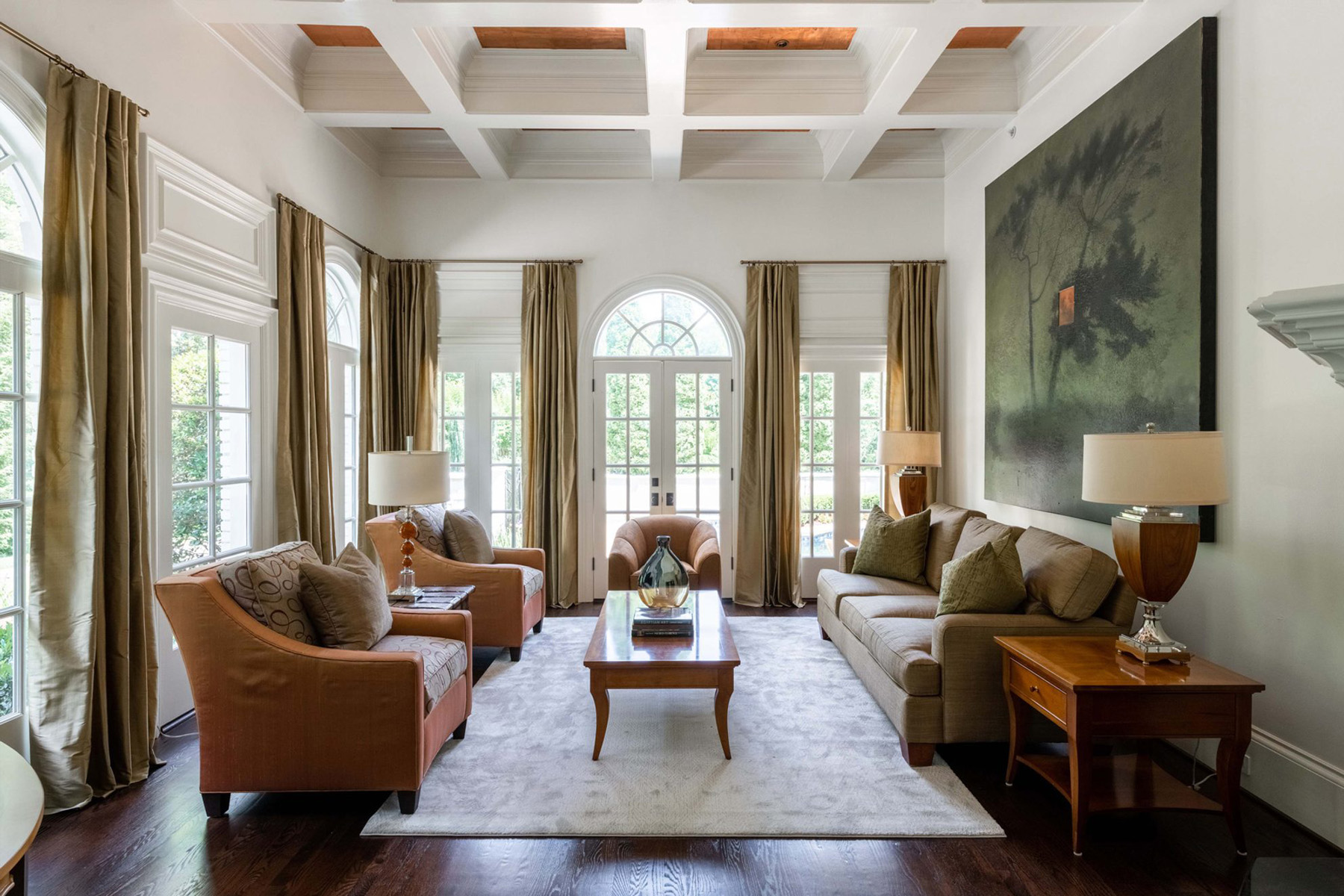 shop the look beautifulliving room with gold drapes, orange brown chairs, wood furniture