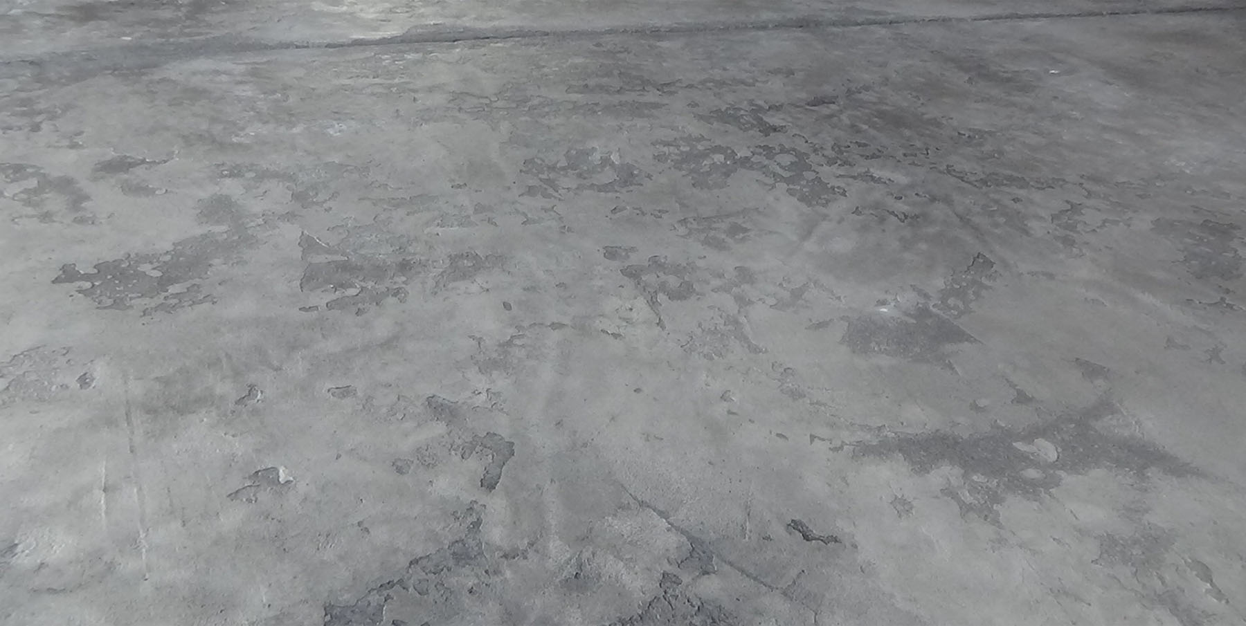 A concrete slab with severe discoloration.