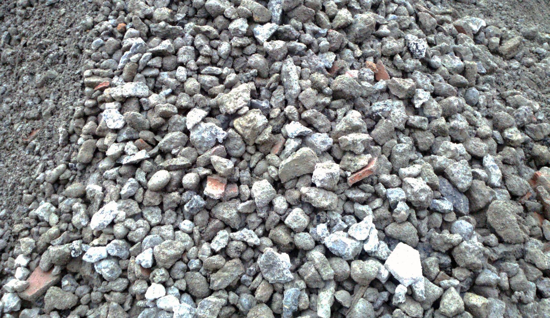 concrete broken down into small aggregate chunks