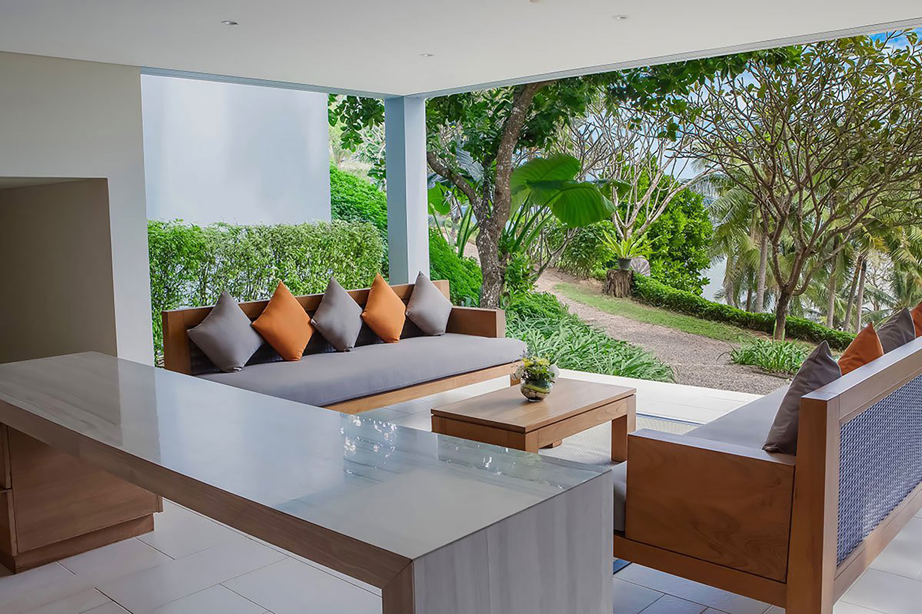 Modern patio set made from acacia wood slabs.