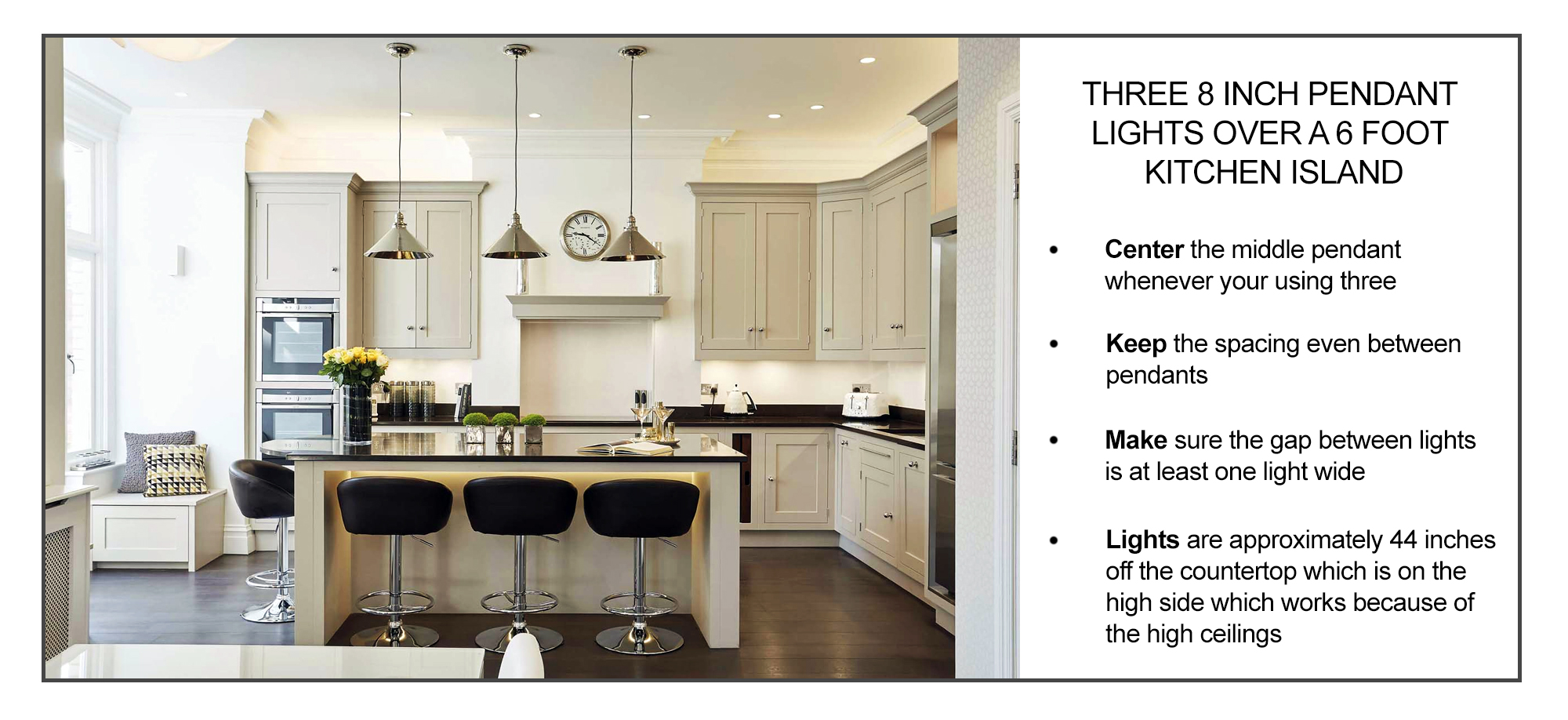 how to position three pendant lights over a kitchen island inforgraphic
