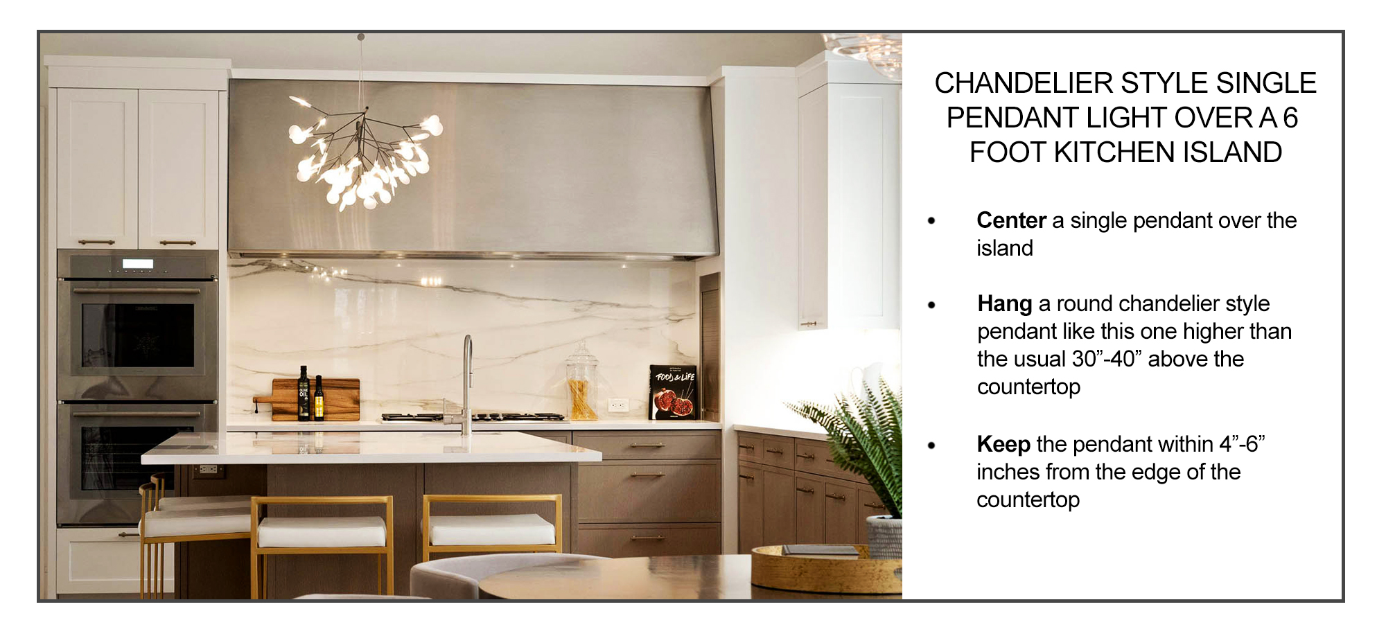 how to hang a single pendant light over a kitchen island inforgraphic