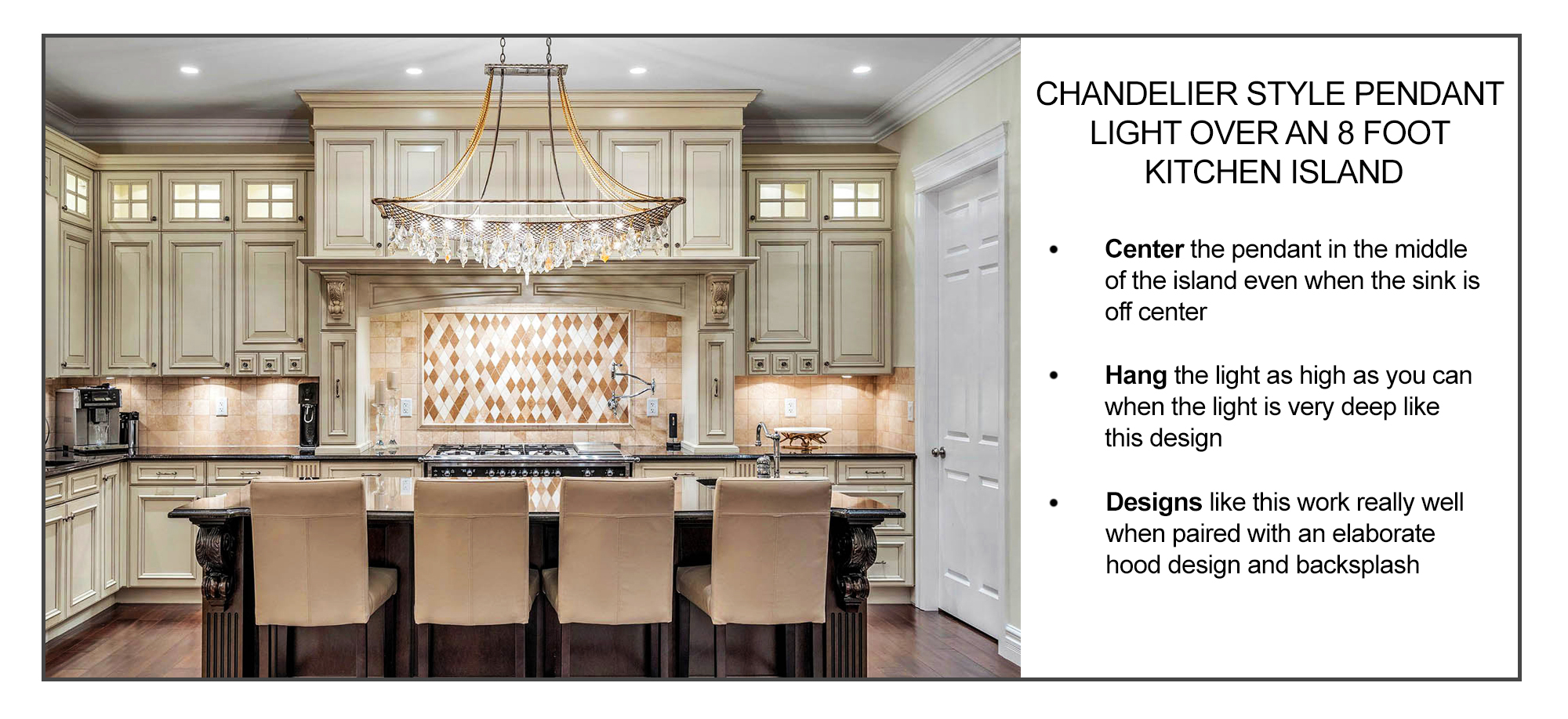 how to hang a chandelier pendant light over a kitchen island inforgraphic