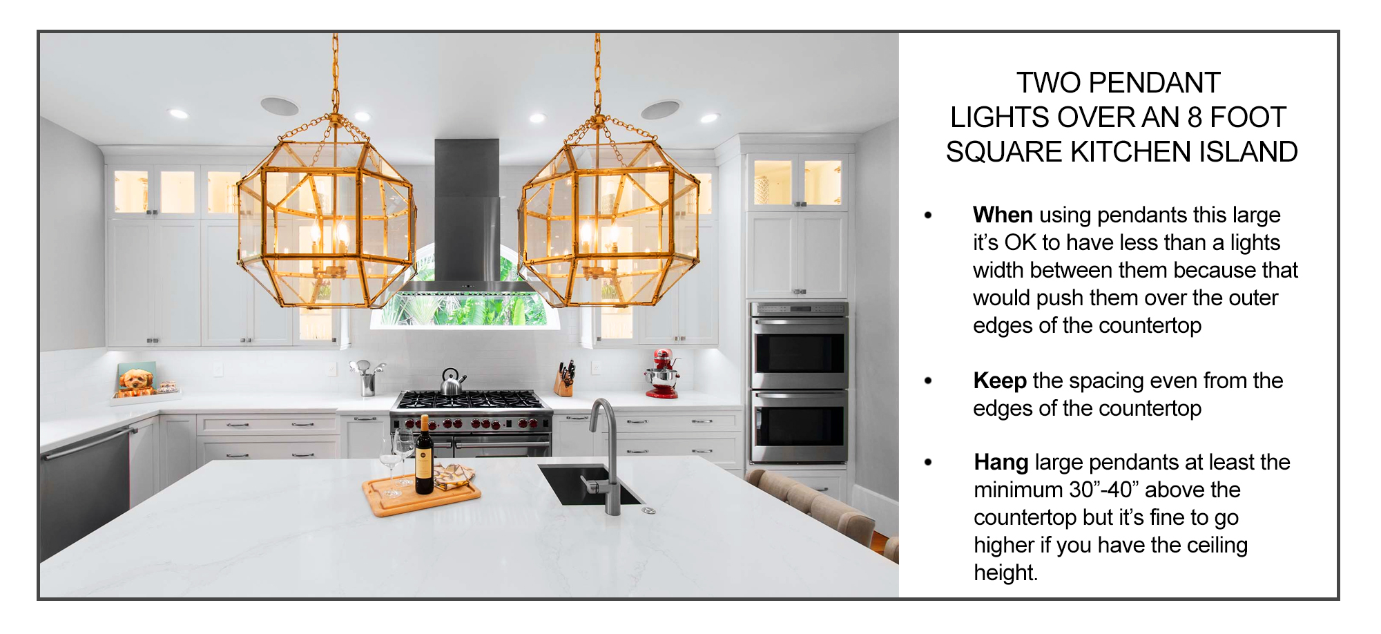 how to space two large pendant lights over a kitchen island inforgraphic
