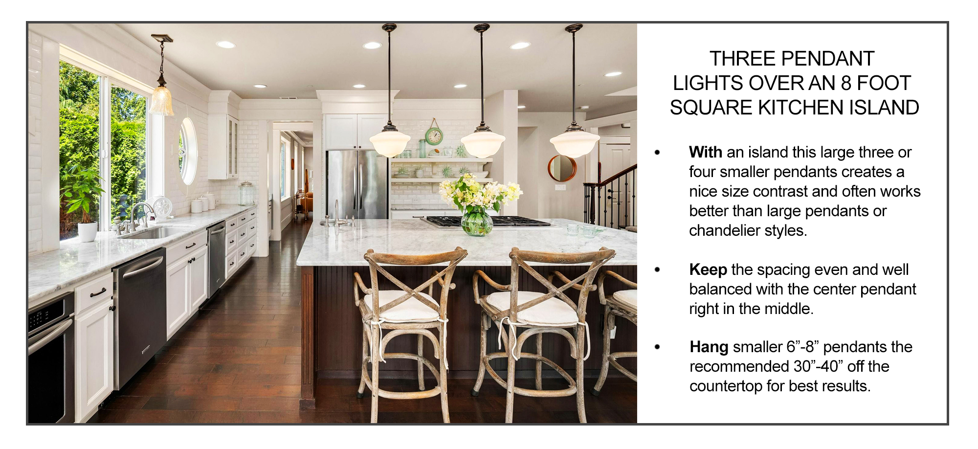 how to space three pendant lights over a kitchen island inforgraphic